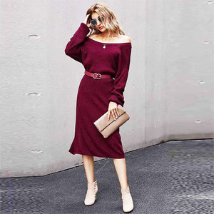Autumn and Winter New Base Solid Color Slim-Fit Sweater Dress Women European and American Large Size Backless Sexy Split Dress