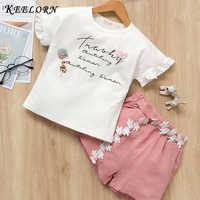 Keelorn filles vêtements ensembles 2019 été enfant en bas âge enfants vêtements à manches courtes bébé T-shirt pantalon 2 pièces costume enfants Roupa Menina
