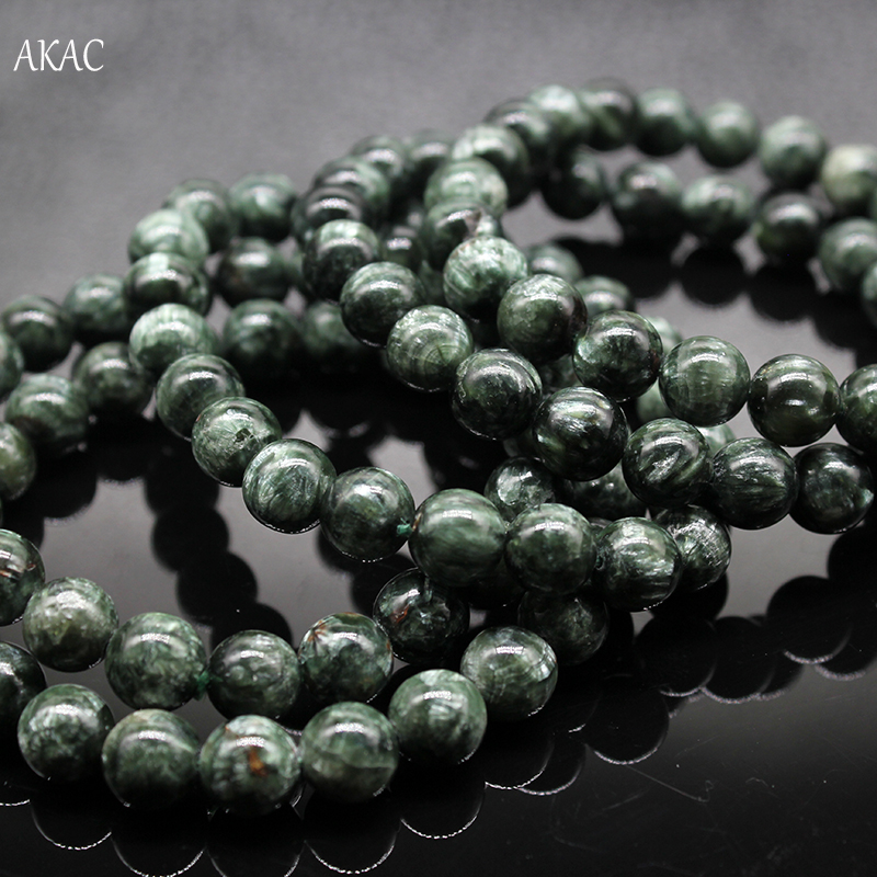 Image 2 - Free shipping 8 8.5mm / 9 9.5mm natural green seraphinite bracelet for jewelry diy making designBeads