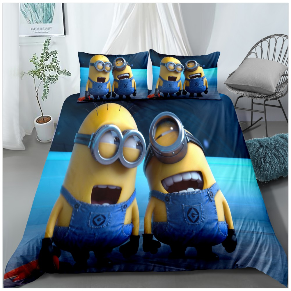 Funny Minions Cartoon Bedding Kids Gift Full Queen King Comforter Cover Pillowcase 2/3 Piece Microfiber Bed Linen Set Bedspread