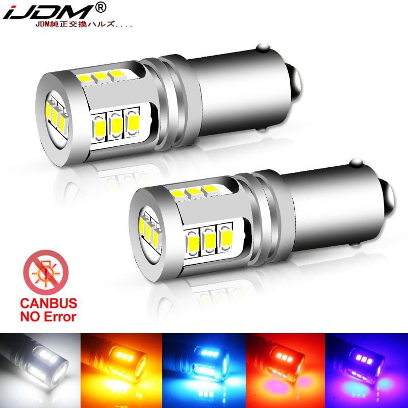 IJDM T4W BA9S светодиодная лампа BAX9S H21W BAY9S светодиодсветодиодный лампа 12 В 24 В H6W H5W для автомобильных задних противотуманных фар красный белый ав...