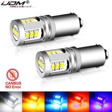 Ijdm led blub para carro, led blub emissor de luz blub bax9s h21w bay9s 12v 24v h6w h5w para neblina traseira lâmpada reverso para estacionamento automotivo, vermelho e branco claro, 6000k