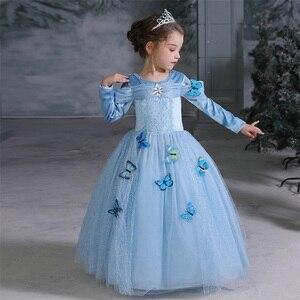 С длинными рукавами; Платье Золушки; Платья для маскарадный костюм для девочек; Платье принцессы для девочек на Хэллоуин, Рождество; Нарядное От 4 до 10 лет Детский костюм