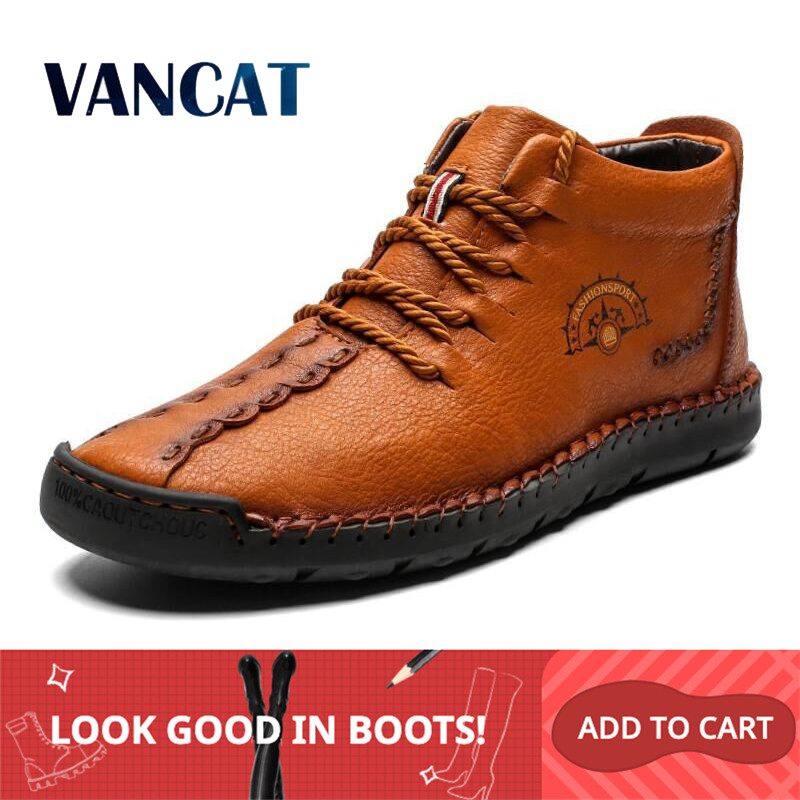 2019 New Warm Mens Boots Working Tactical Boots Split Leather Ankle Boots Plush Snow Boots Lace-up Winter Shoes Plus Size 38-48