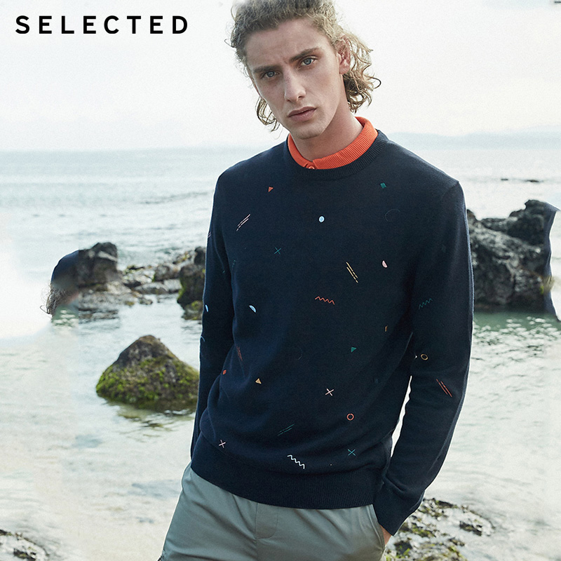 SELECTED Mens 100% Cotton Embroidery Long-sleeved Sweater|419324529