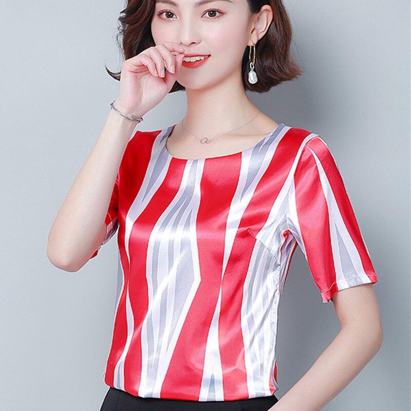 Korean Silk Blouses Women Satin Blouse Tops Woman Short Sleeve Striped Blouses Plus Size Blusas Femininas Elegante Women Tops