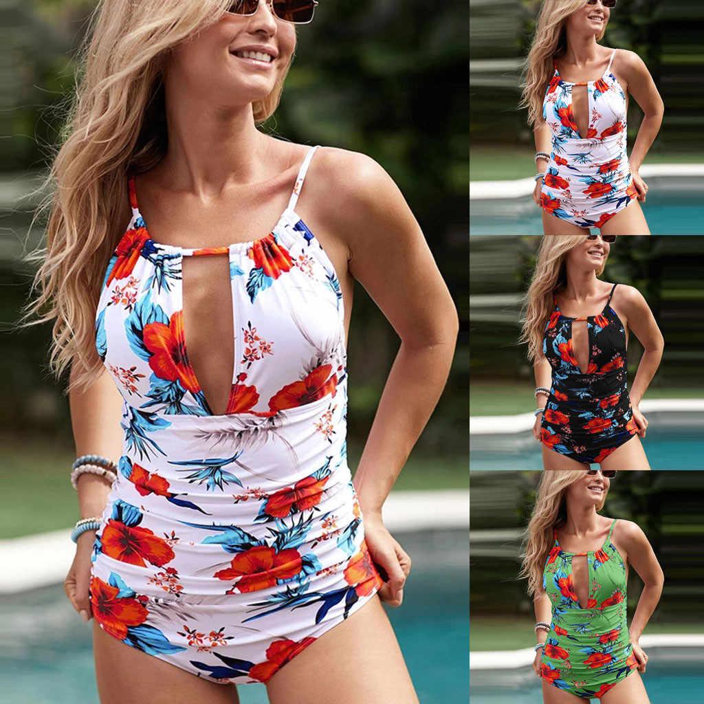 Plus Ukuran Pakaian Renang Satu Potong Pakaian untuk Wanita Besar Baju Renang Gemuk Payudara Besar Wanita 2020 Bunga Cetak Berenang