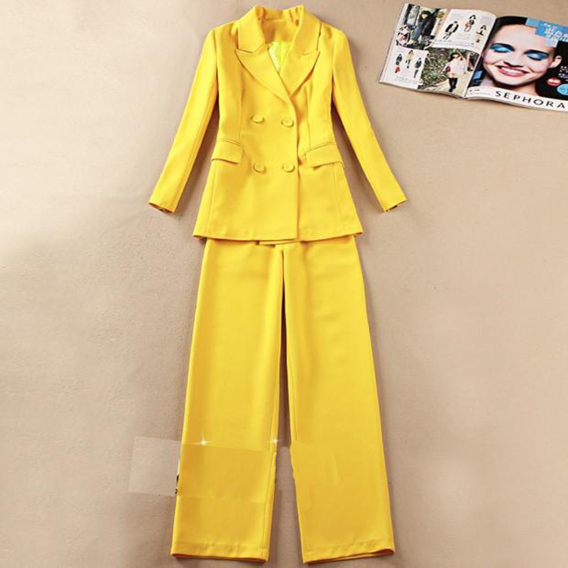 Women's Business Wear 2019 New Winter Slim Yellow Office Women's Suits Pants Suit Temperament Casual Trousers Two-piece