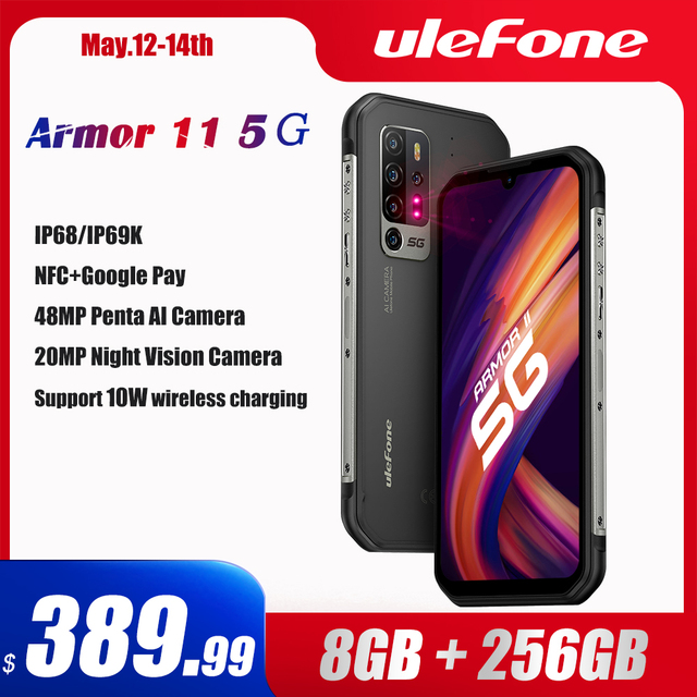 Ulefone Armor 11 5G Rugged Mobile Phone Android 10 8GB +256GB Waterproof Smartphone 48MP NFC Mobile Phone Wireless Charging 1