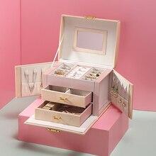 Caja organizadora de joyas de lujo, cajonera grande de cuero PU, cajas de joyería, pendientes, anillo, collar, caja de almacenamiento de joyería, ataúd de regalo, 2020