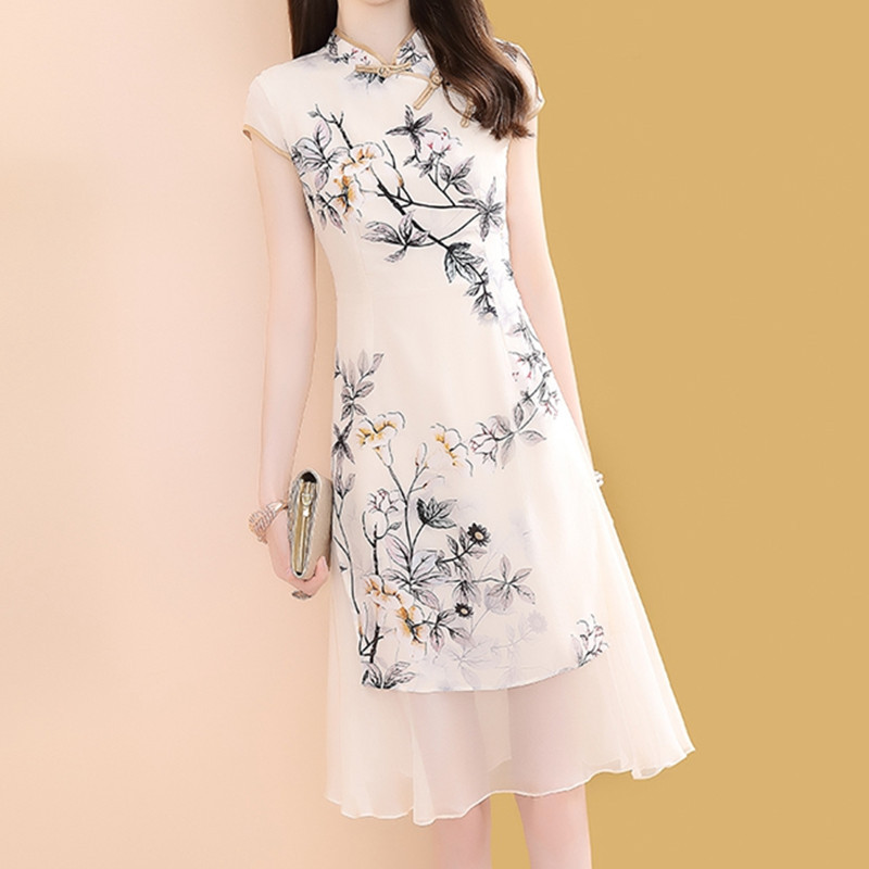 Mulberry Silk Silk Dress Women's Summer Mid-length 2019 New Style Cheongsam Improved Version Retro Skirt 9719
