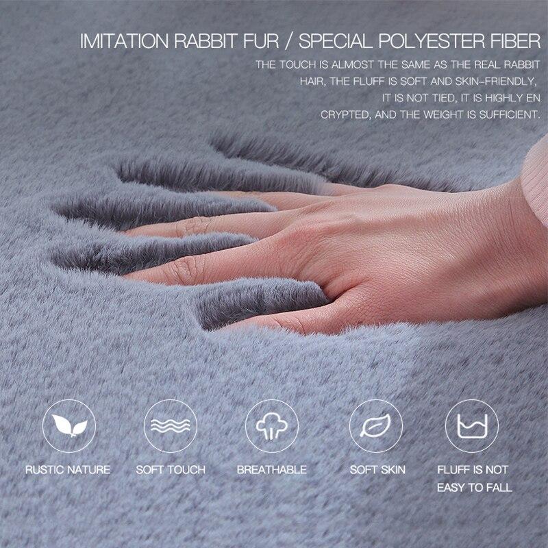 רך פלאפי פו פרווה שטיח מיקרופייבר חיקוי ארנב שיער מרכז סלון/חדר שינה שטיח 8 צבעים לבן אפור חום סגול