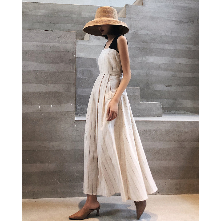Women Stripes Dress Cotton And Linen High Waist Retro Swing Vintage Pocket Cross Back Party Casual Dresses Lady Strappy Vestidos