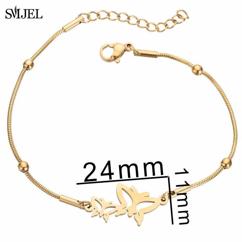 SMJEL ze stali nierdzewnej bransoletki dla dziewczynek regulowany łańcuch zwierząt Charm bransoletka biżuteria aretes de mujer 2019