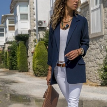 Vintage Blazer Women Pockets Jackets Female Retro Solid Color Suits Coat Feminino Office Ladies blazers Outerwear Female Blazers