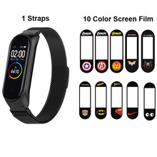 Mi Band 4 Strap For Original Xiaomi Nfc Bracelet Smart Wrist Belt Miband Milanese Wristband Screen Protector Film