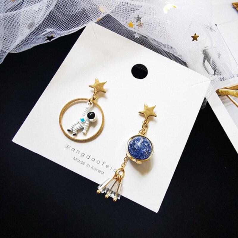 Nieuwe Koreaanse Oorbellen Asymmetrische Pentagram Oorbellen Ruimte Astronauten Aarde Kleine Oorbellen Voor Vrouwen Partij Sieraden - 2
