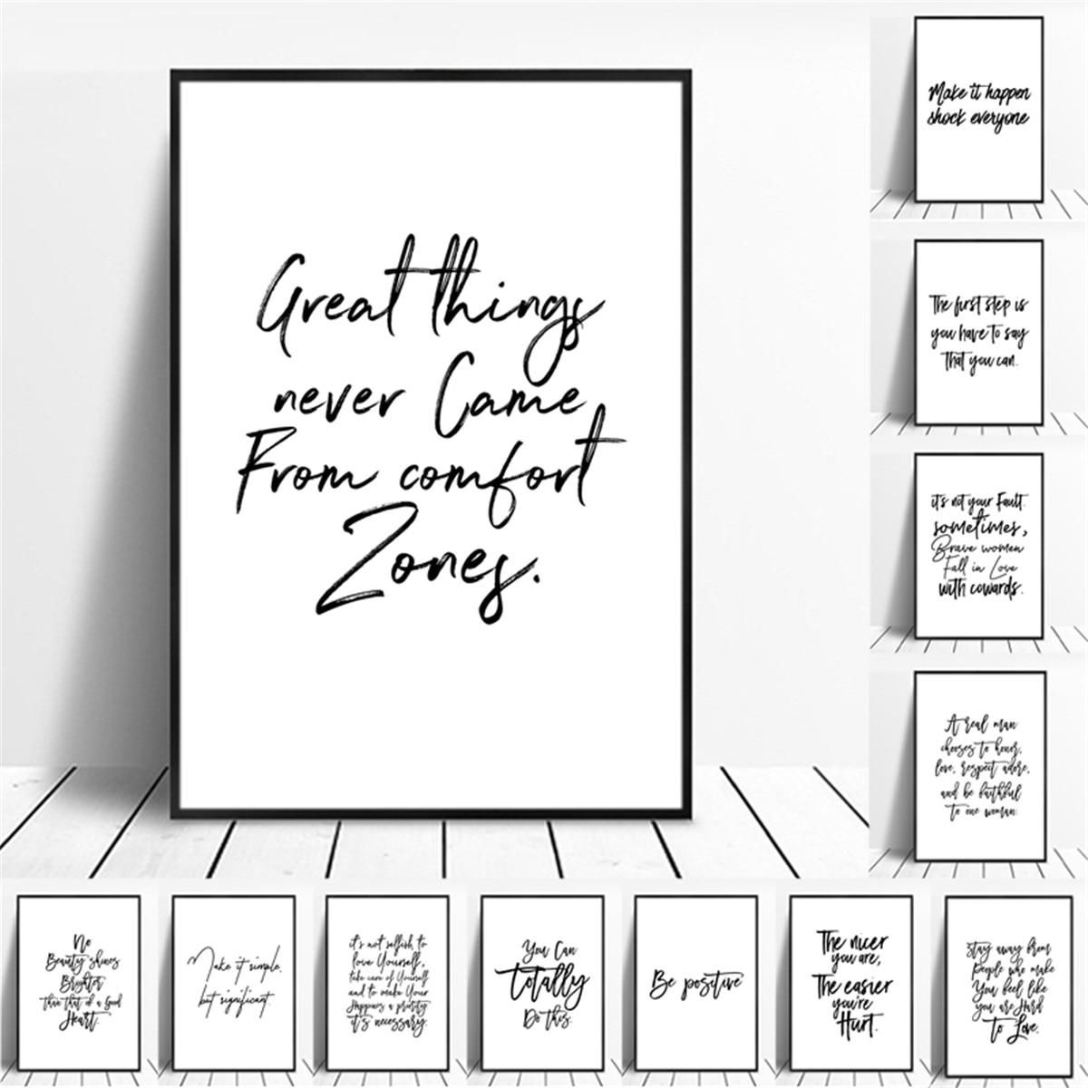 Inspirador moderno inglês frases motivacional citação poster impressão em tela pintura da parede arte sala de estar decoração casa