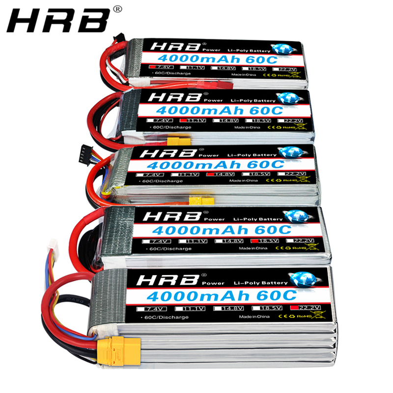 HRB 3S 4S <font><b>4000mah</b></font> <font><b>Lipo</b></font> Battery 14.8V 7.4V 11.1V Deans XT60 T 5S <font><b>6S</b></font> 2S 22.2V 18.5V 1S RC FPV Airplanes Drone Truck Car 60C Parts image