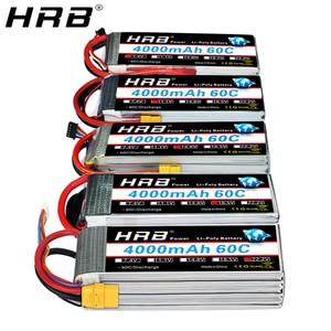 Image 1 - Hrb 3s 4S 4000mah lipo bateria 14.8v 7.4v 11.1v deans xt60 t 5S 6s 2s 22.2v 18.5v 1s rc fpv aviões zangão caminhão carro 60c peças