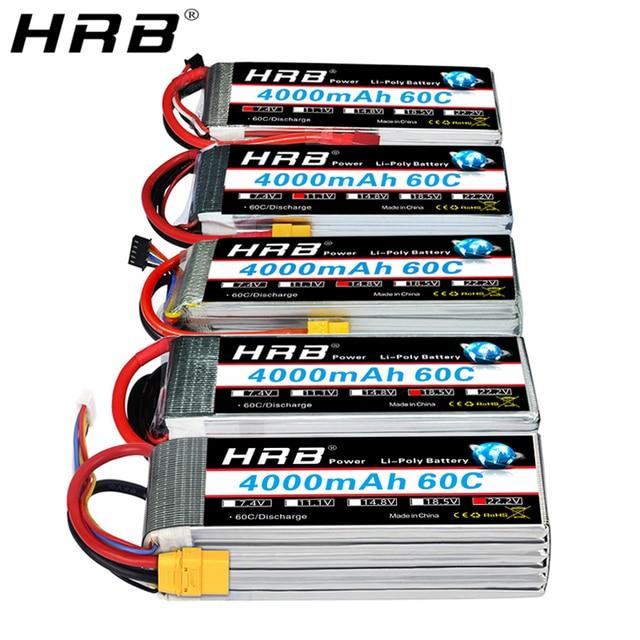 Hrb 3s 4S 4000mah lipo bateria 14.8v 7.4v 11.1v deans xt60 t 5S 6s 2s 22.2v 18.5v 1s rc fpv aviões zangão caminhão carro 60c peças