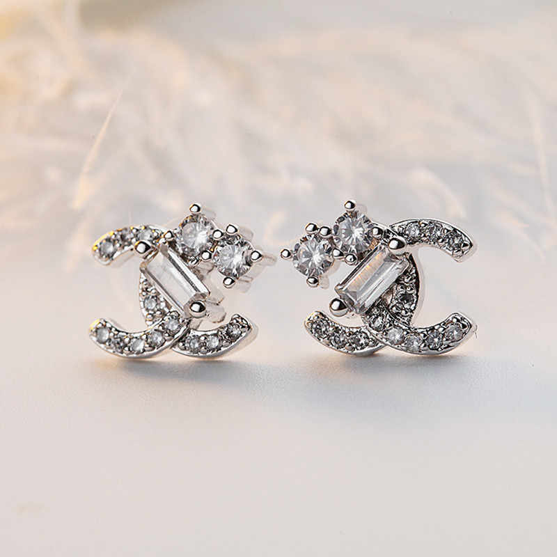 925 sterling silver Needle Letter Stud Earrings Sliver Color Zirconia small Earrings Statement Earrings For Women Party Jewelry