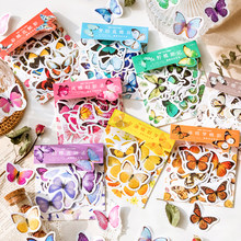 45PCS Flying Butterfly Series Sticky Stickers Colorful Paper Decoracion Scrapbooking Stationery School Supplies Sticker Flakes