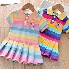 Unicon crianças vestido primavera verão turn-down colarinho crianças roupas da moda da criança do bebê meninas roupas de verão vestido menina