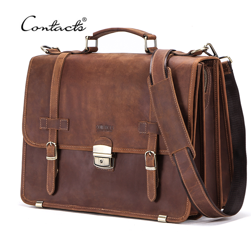 CONTACT'S Men's Bag Crazy Horse Leather Briefcase Men Business Bag For 14