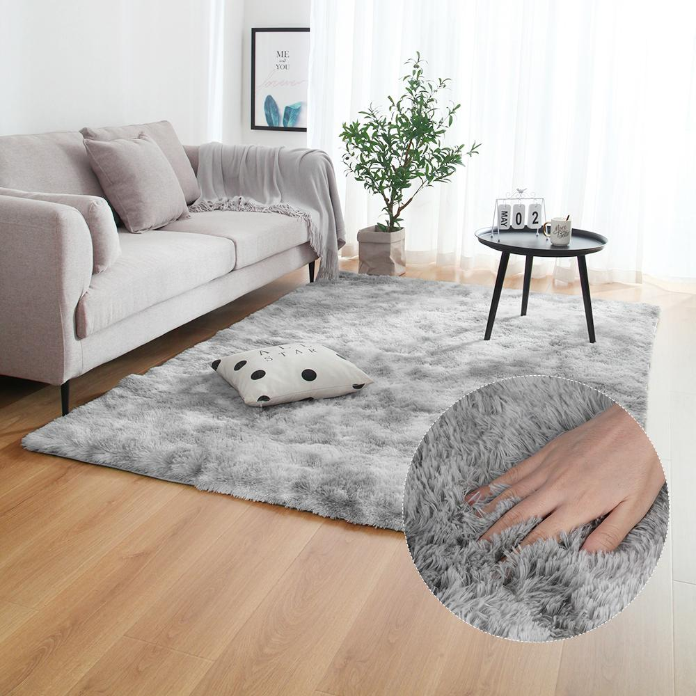 38  Grey Carpet Tie Dyeing Plush Soft Carpets For Bedroom Living Room Anti-slip Floor Mats Bedroom Water Absorption Carpet Rugs
