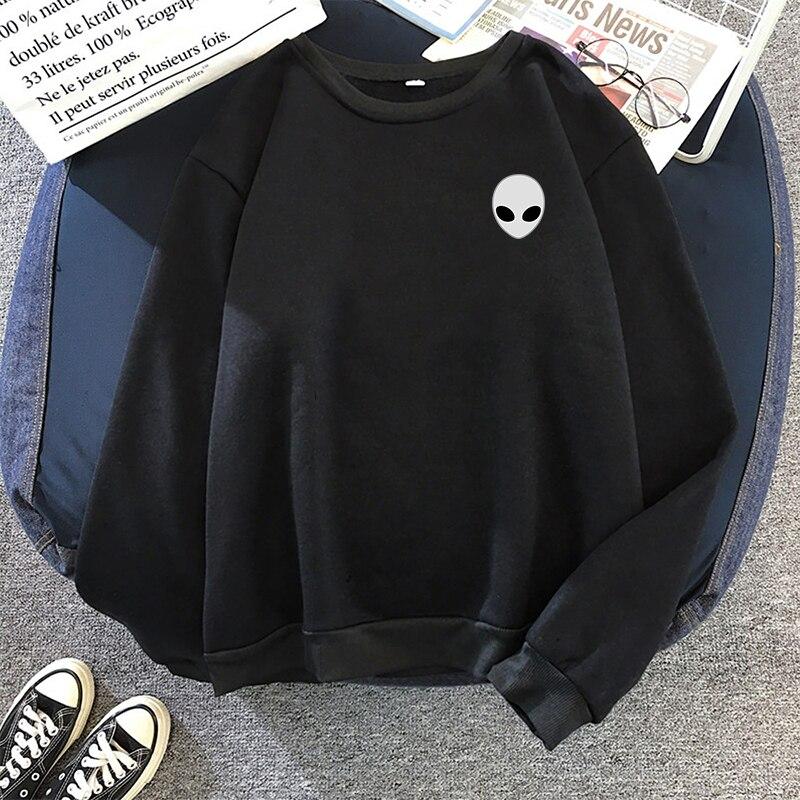 Moletom Women Men Loose Long Sleeve Hoodies Hooded Sweatshirts Cute Winter Alien Print Solid Harajuku Autumn Pullovers 10