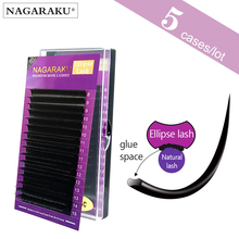 NAGARAKU 5กรณีEllipse Flat False Eyelash ExtensionแบนMink Mix CiliaขนตาFaux Mink Ellipseขนตา