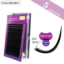 NAGARAKU 5 cases Ellipse Flat False Eyelash Extension flat mink mix cilia eyelashes Faux Mink Ellipse eyelashes