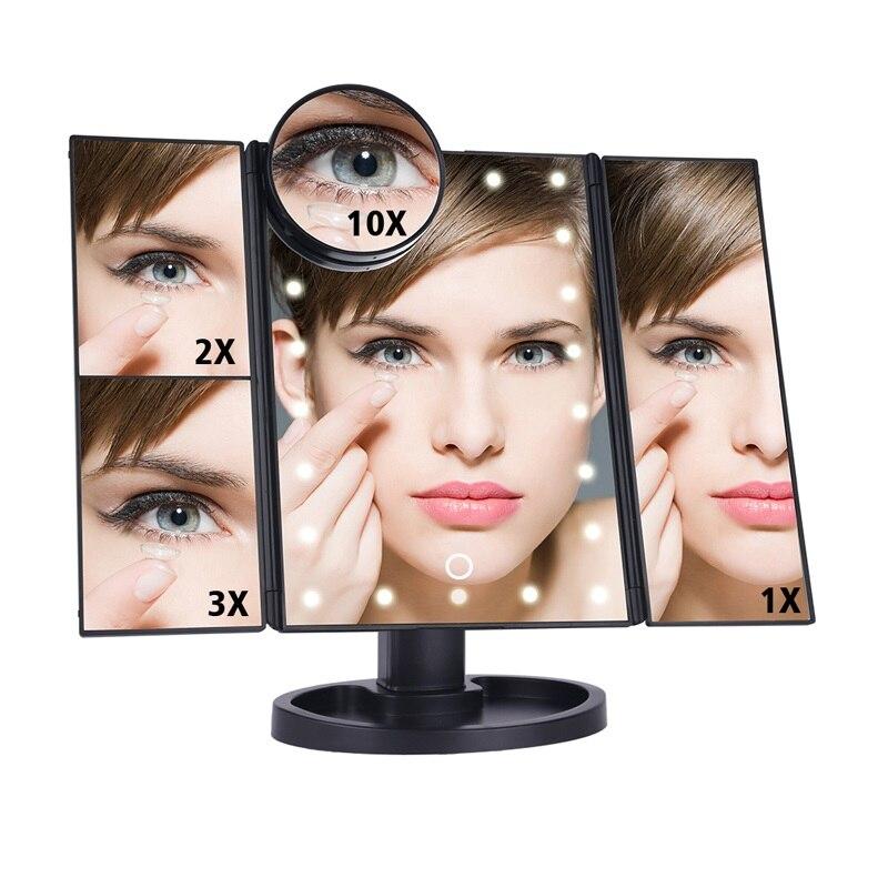 Зеркало для макияжа, светодиодный, 22 лампы, сенсорный экран, настольный стол, 1X/2X/3X/10X, увеличительное зеркало, туалетный столик, 3 складных ре