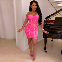 Sexy Dress High Quality Women Rose Red Yellow Spaghetti Strap Lace Up Bodycon Club Party Dresses Vestidos Summer Sexy Dress