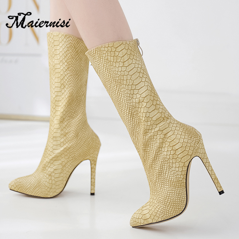 MAIERNISI Ankle Women Boots Fashion Spring Autumn Zip Pattern Thin High Heels Pointed Toe Shoes Boot Ladies