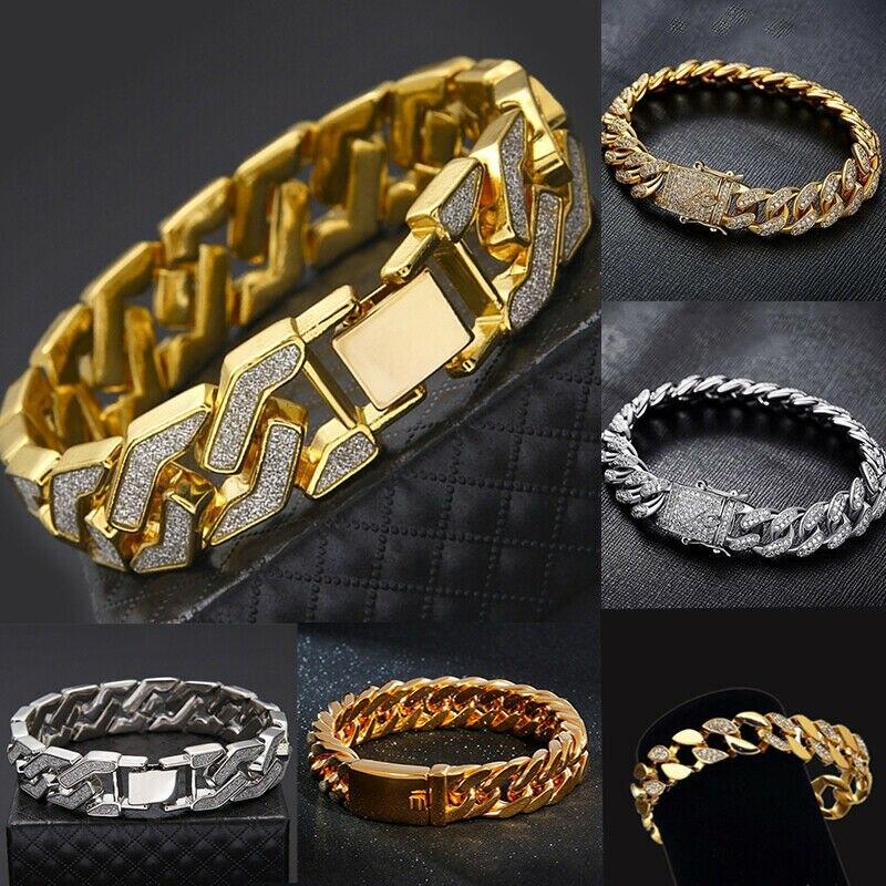 Men's Heavy Solid Alloy Curb Chain Bracelet Sand Blast BangleMen Hip Hop Rock Bracelet Fashion Jewelry Wrist Chain Bangle Gift