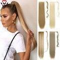 Манвэй клип в конский хвост Расширение обертывание вокруг длинные прямые конский хвост волос 24 дюйма синтетические волосы кусок