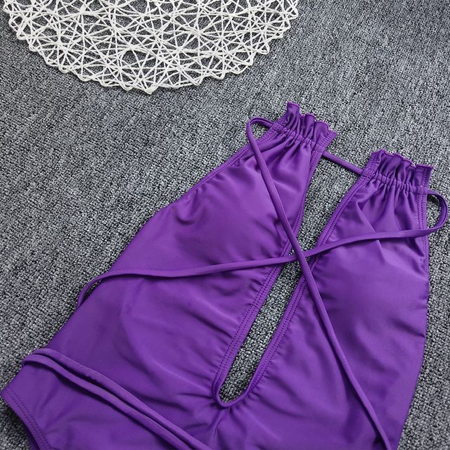 Maiô monokini corte alto, uma peça, roxo, maiô, bandagem nua, costas nuas, simwear, 1 peça, decote em v, roupas de praia, push-up