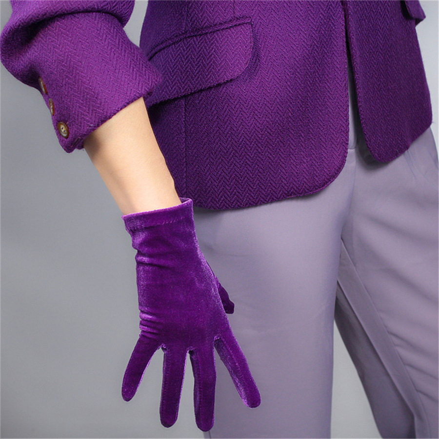Velour Medium Length Gloves Women 40cm Noble Dark Purple  High Elastic Swan Velvet Gold Velour Touchscreen 5-SRZS40