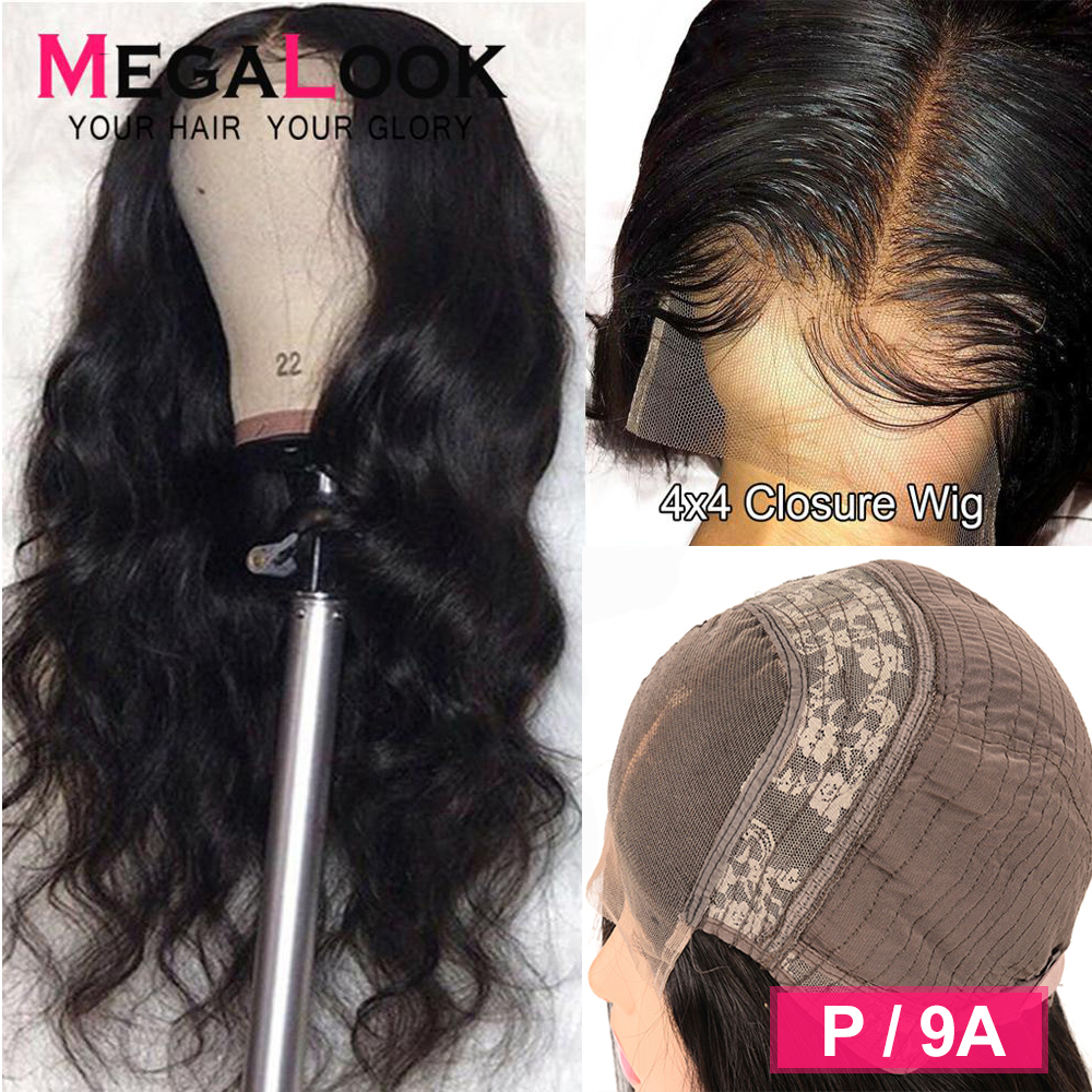 4x4 6x6 Closure Wig Body Wave Wig Peruvian Human Hair Wigs 150% 180% Remy 30 Inch Brazilian Preplucked Lace Wig Lace Closure Wig
