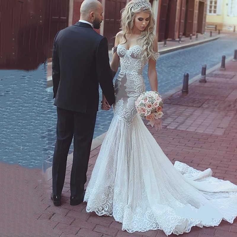 mermaid lace sweep train shoulder wedding dresses