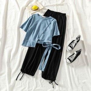 Асимметричная короткая футболка и прямые брюки на шнуровке, комплект из 2 предметов, женская одежда, одежда tiktok, свободный летний комплект и...