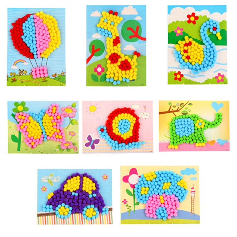8Pcs Children Diy Cotton Ball Stickers/Kids Child Cartoon Cardboard With Multi Color Little Ball Stick Paintings,Free Shipping