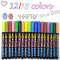 Double Line Outline Pens, 12/18 Colors Self-Outline Metallic Markers Glitter Outline Pens Writing Drawing Pens Doodle Dazzle Pen