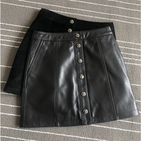 2020 New Womens Sheepskin Skirt Short Leather A Line Skirt Black Suede Mini Button Pencil Skirt Womens Vintage Elegant Dress