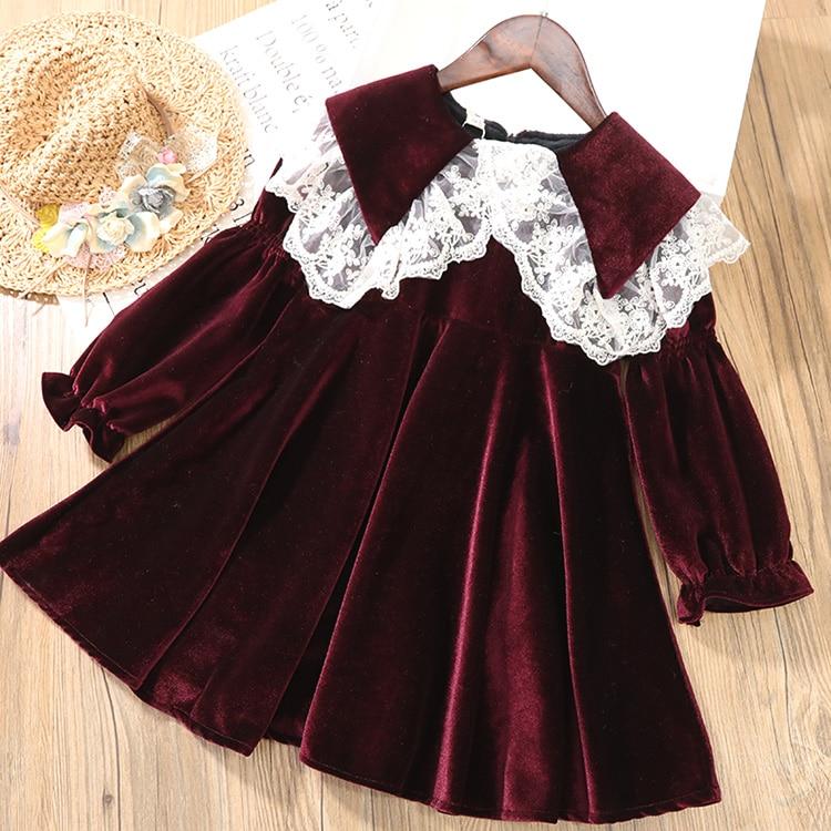 Gooporson Fashion Kids Clothes Fall Kids Dresses for Girls Velvet Long Sleeve Princess Dress Vestidos Autumn Children Costume