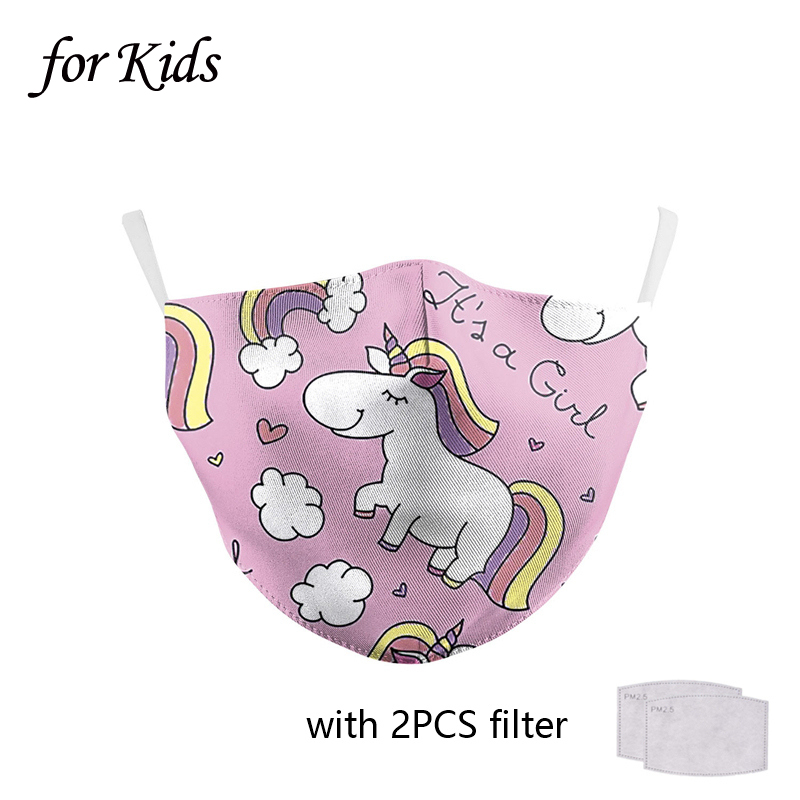 Cat Mouth Mask Child Kids Cute Pink Unicorn Face Mask With Filters Washable Reusable Child Anti-Dust Mouth Nose Mask