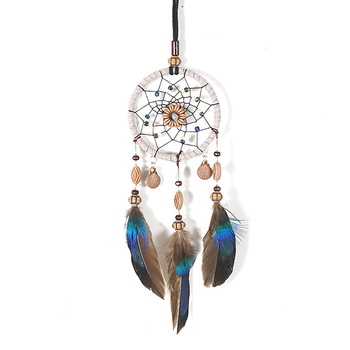 Mini Dream Catcher For Car Beaded Natural Feathers And Handmade - discount item  22% OFF Home Decor