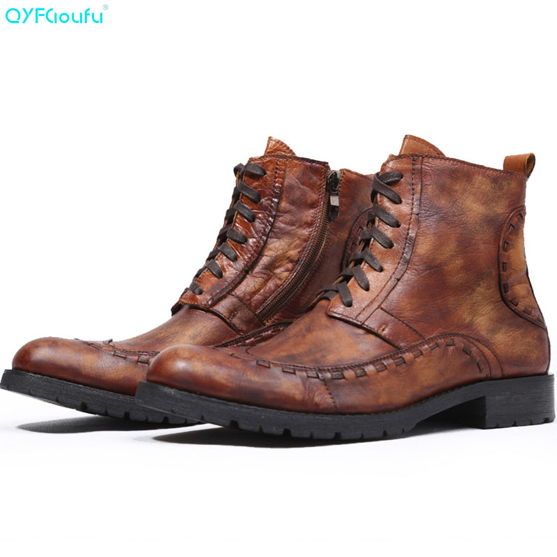QYFCIOUFU 2019 New Mens Martins boots Genuine Leather leisure boot Shoes High Quality Chelsea Ankle Boot Footwear